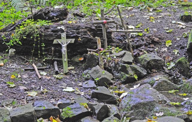 De geneeskrachtige bron met de vele kruisjes die daar geplaatst zijn. De heilzame bron van Saint Thibaut is net als vroeger de leidraad voor het leven.