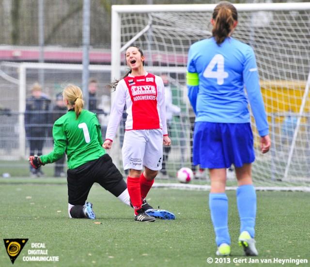 Drita Celaj van RCL krijst het uit van vreugde na haar treffer tegen Saestum. Drita Celaj passeerde Pia Haitsma op snelheid om vervolgens de bal in de uiterste hoek achter sluitpost Anke Nesselaar in de touwen te schieten. De 2-0 voorsprong voor RCL in de tiende minuut een feit.