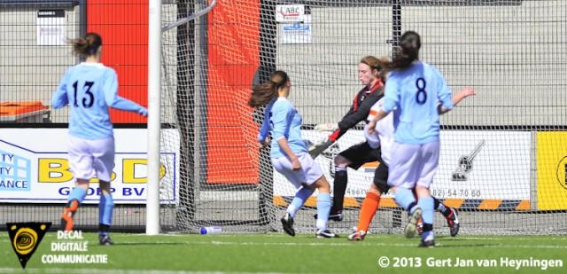 Een foutje van doelvrouwe Samantha Captein van Jodan Boys en de kleine Malu Postel van RCL is er als de kippen bij om te scoren.