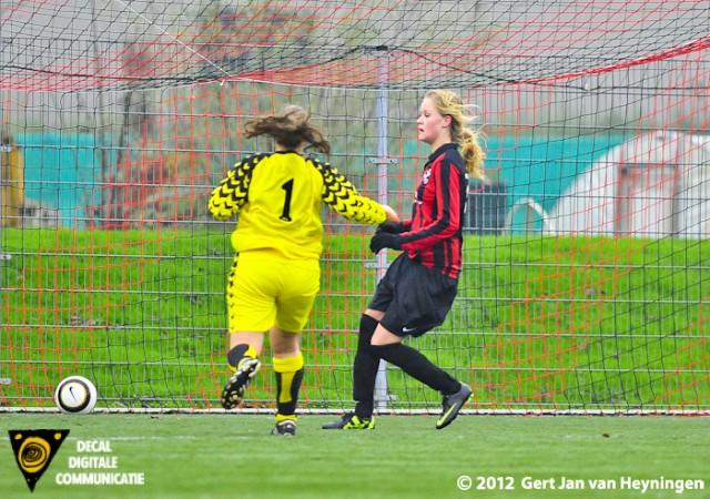 Efficient passeerde Robin Hendriks van VVIJ sluitpost Susan Hogenboom van RCL en de 1-0 is een feit.