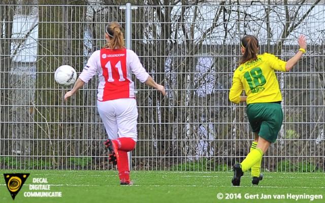 Liv Aerts van Fortuna Sittard scoort de gelijkmaker, 1-1.