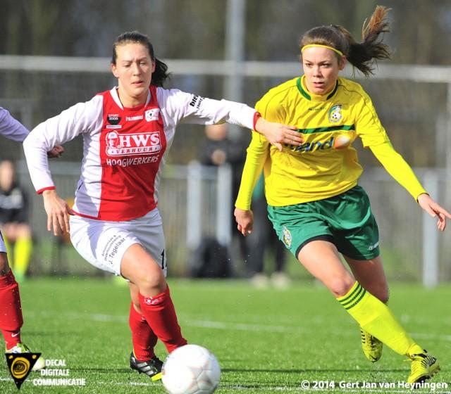 Ramona van der Harst tijdens het duel tussen RCL en Fortuna Sittard die in een gelijkspel zou eindigen.